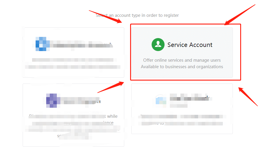 Choose service account